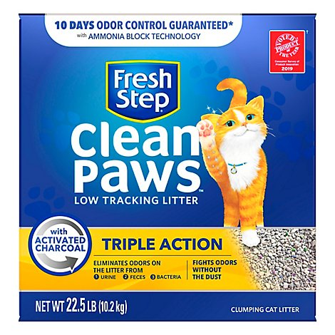 Fresh Step Clean Paws Cat Litter Clumping Triple Action Scented Box - 22.5 Lb