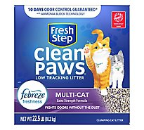Fresh Step Clean Paws Cat Litter Clumping Multi Cat With Febreze Fresh Scent Box - 22.5 Lb