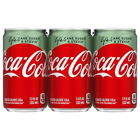 Coca-Cola Soda Pop Life Cola Diet Cane Sugar & Stevia Mini Cans - 6-7.5 Fl. Oz.