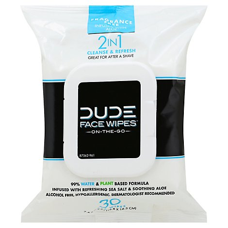 Dude Face Wipes Scntd - 30 Count