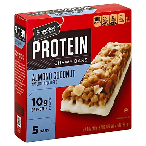 Signature Select Bars Protein Chewy Almond Coconut - 7.1 Oz