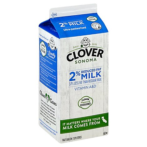 Clover Milk 2% Reduced Fat Non - GMO Choice - Half Gallon