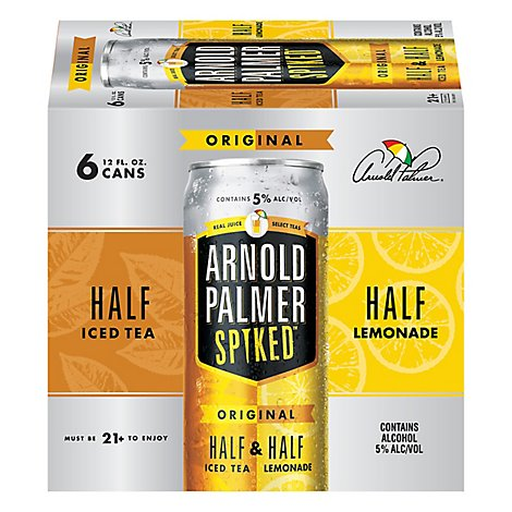 Arnold Palmer Spiked Half & Half Ice Tea Lemonade Flavored Malt Beverage Cans 5% ABV - 6-12 Fl. Oz.