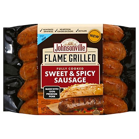 Johnsonville Flame Grilled Sausage Sweet & Spicy Pork Natural Casing 5 Links Fully Cooked - 14 Oz