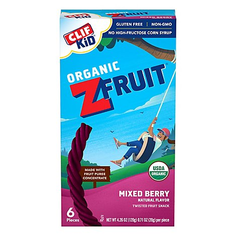 CLIF Kid Organic Z Fruit Rope Twisted Mixed Berry - 6-0.7 Oz