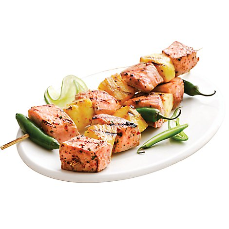 Monterey Bay Seafood Salmon Atlantic Kabob Mesq With Veg Color Added Service Case - 0.75 LB