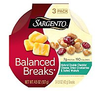 Sargento Balanced Breaks Double Cheddar Cranberry Walnut 3 Pack - 4.5 Oz