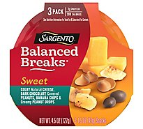Sargento Sweet Balanced Breaks Colby Jack Cheese Dark Chocolate Peanut Banana 3 Pack - 4.5 Oz
