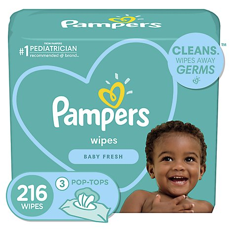 Pampers Complete Clean Baby Wipes Baby Fresh Scent 3 Pack - 216 Count