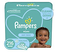 Pampers Baby Wipes Baby Fresh Scent 3 Pop Top Pack - 216 Count