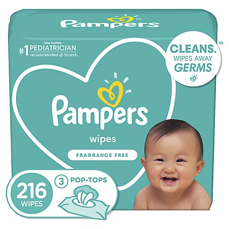 Pampers Complete Clean Baby Wipes Unscented 3 Pack - 216 Count