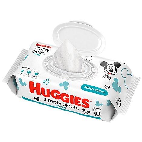 Hug Simply Clean Bby Wipes - 64 Count