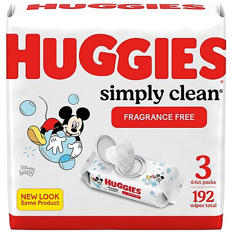 Huggies Simply Clean Baby Wipes Unscented 3 FlipTop Packs - 192 Count
