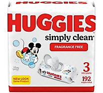 Huggies Simply Clean Baby Wipes Unscented Fliptop Pack - 3-64 Count
