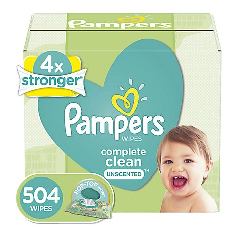 Pampers Complete Clean Baby Wipes Unscented 7 Pack - 504 Count