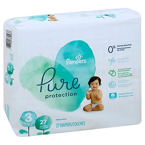 Pampers Pure Protection Diapers Size 3 - 27 Count