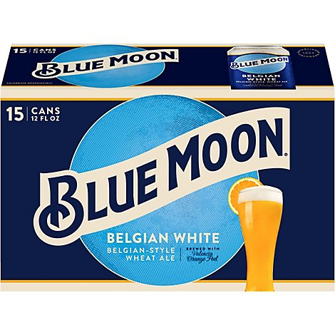 Blue Moon Craft Beer Wheat Belgian White 5.4% ABV In Cans - 15-12 Fl. Oz.