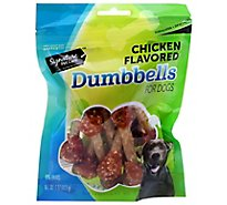 Signature Pet Care Dog Treat Dumbbells Chicken Flavor Pouch - 4 Oz