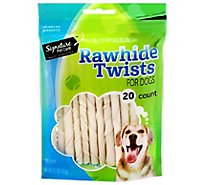 Signature Pet Care Dog Chew Rawhide Twists 20 Count Pouch - 4.2 Oz