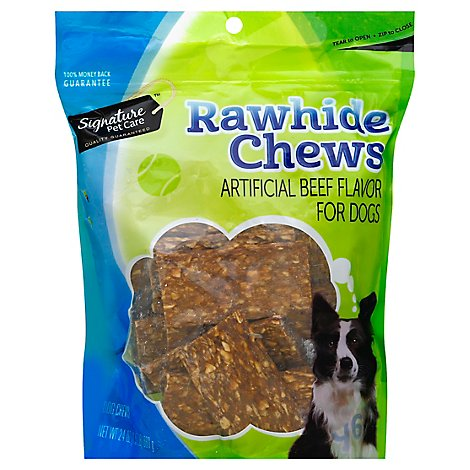 Signature Pet Care Dog Chew Rawhide Chews Beef Flavor Pouch - 24 Oz