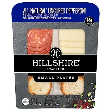 Hillshire Snacking Uncured Pepperoni with Natural White Cheddar Cheese Small Plates - 2.76 Oz