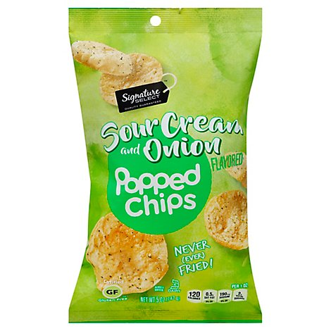Signature Select Popped Chips Sour Cream And Onion - 5 Oz