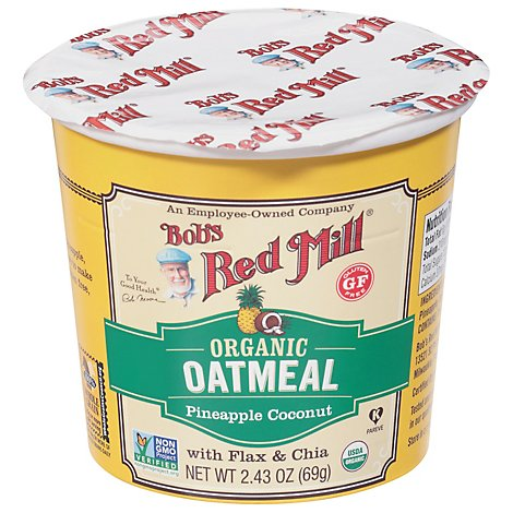 Bobs Red Mill Oatmeal Cup Gluten Free Organic Pineapple Coconut - 2.43 Oz