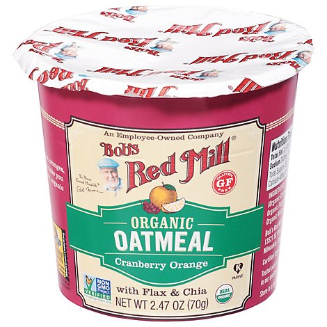 Bobs Red Mill Oatmeal Cup Gluten Free Organic Cranberry Orange - 2.47 Oz