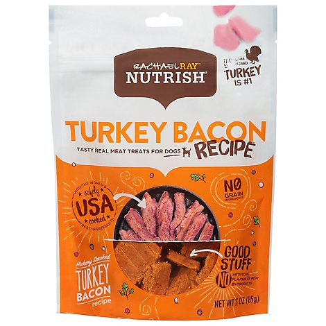 Rachael Ray Nutrish Treats for Dogs Hickory Smoked Turkey Bacon Recipe Pouch - 3 Oz
