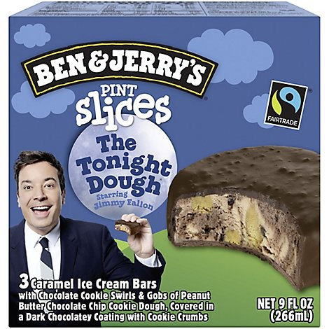 Ben & Jerrys Ice Cream Bars Pint Slices The Tonight Dough 3 Count - 9 Oz