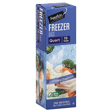 Signature SELECT Bags Freezer Click & Lock Double Zipper Quart - 19 Count