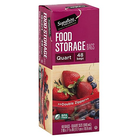 Signature SELECT Bags Food Storage Click & Lock Double Zipper Quart - 48 Count
