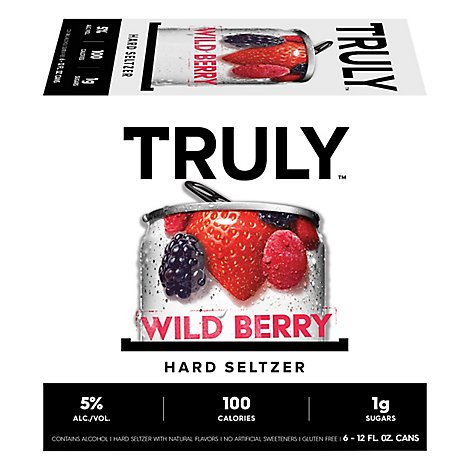 Truly Hard Seltzer Spiked & Sparkling Water Wild Berry 5% ABV Slim Cans - 6-12 Fl. Oz.