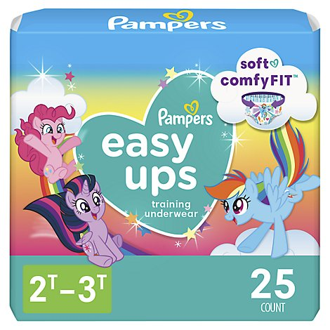 Pampers Easy Ups Training Underwear Girls Size 2T To 3T - 25 Count