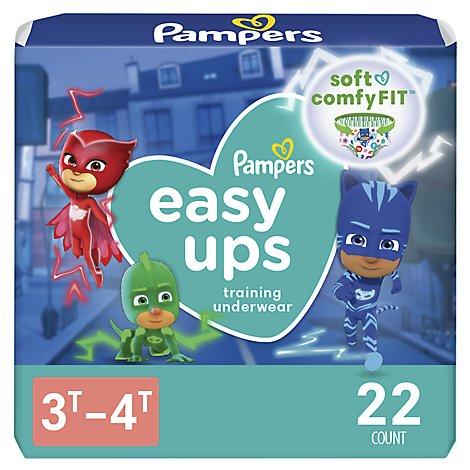 Pampers Easy Ups Training Underwear Boys Size 3T To 4T - 22 Count