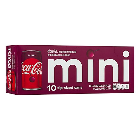 Coca-Cola Soda Pop Flavored Cherry Mini Cans - 10-7.5 Fl. Oz.
