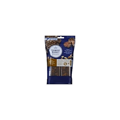 Farmers Market Dog Treat Natural Chewy Protein Bars Beef with Peanut Butter 12 Count - 9.5 Oz