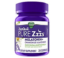 Vicks ZzzQuil Pure Zzzs Sleep Aid Melatonin Gummies Wildberry Vanilla- 24 Count