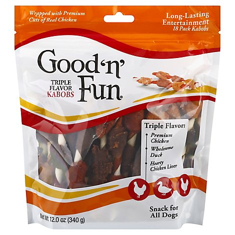 Healthy Hide Dog Treat Good n Fun Triple Flavor Kabobs Bag 18 Count - 12 Oz