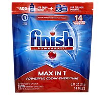 Finish Dishwasher Detergent Powerball Max In 1 Wrap Free Tablets 14 Count Pouch - 8.8 Oz