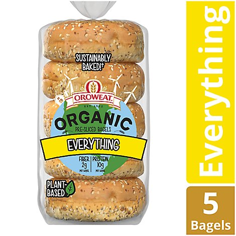 Oroweat Organic Bagels Everything 5 Count - 13 Oz