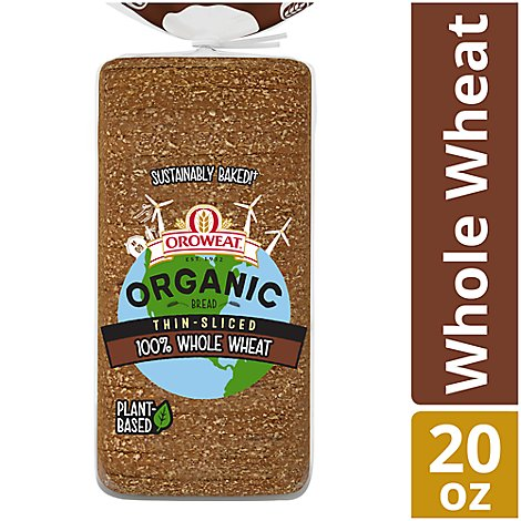 Oroweat Organic Bread 100% Whole Wheat Thin Sliced - 20 Oz