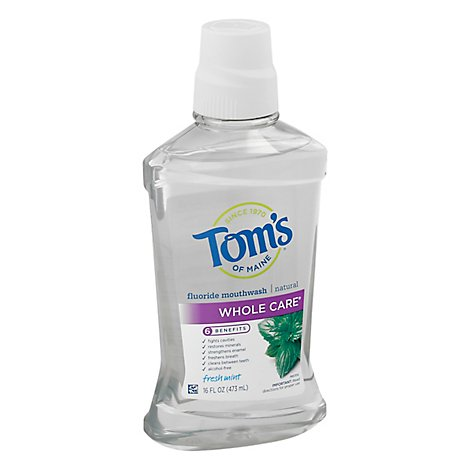 Toms of Maine Mouthwash Fluoride Whole Care Fresh Mint - 16 Fl. Oz.