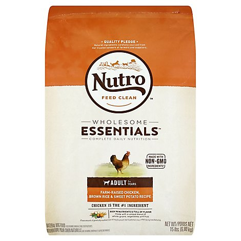 NUTRO WHOLESOME ESSENTIALS Dog Food Adult Farm-Raised Chicken Brown Rice & Sweet Potato - 15 Lb