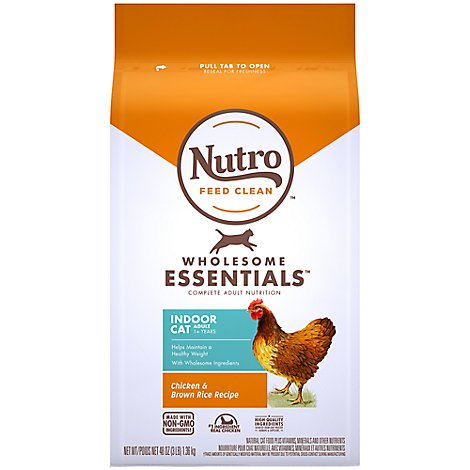 Nutro Wholesome Essentials Cat Food Indoor Adult Farm-Raised Chicken & Brown Rice Bag - 3 Lb