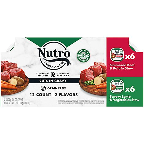 NUTRO Dog Food Petite Eats Adult Variety Beef & Lamb Entree Cuts In Gravy Box - 12-3.5 Oz
