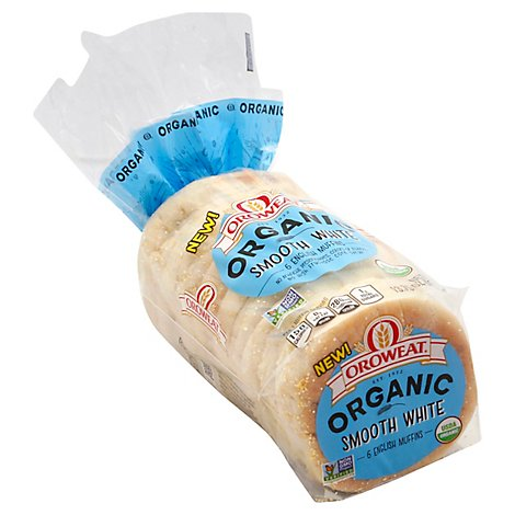 Oroweat Organic English Muffins Smooth White 6 count - 13.75 Oz