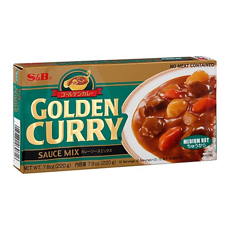 S&B Medium Hot Golden Curry Sauce Mix - 7.8 Oz