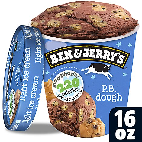 Ben & Jerrys Moophoria Ice Cream Light P.B. Dough 1 Pint - 16 Oz