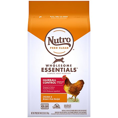 Nutro Wholesome Essentials Cat Food Hairball Control Farm-Raised Chicken & Brown Rice Bag - 3 Lb